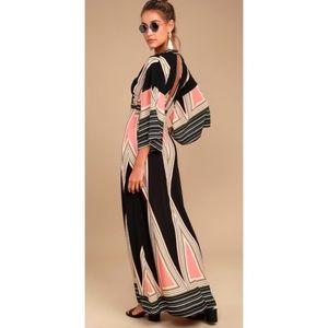 LULU's | Print Maxi Montecito Low V Cut Out Dress